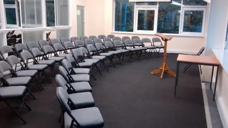 Conference room set up for a talk or presentation